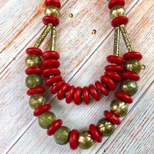 Vintage Boho Wooden Beaded Statement Necklace